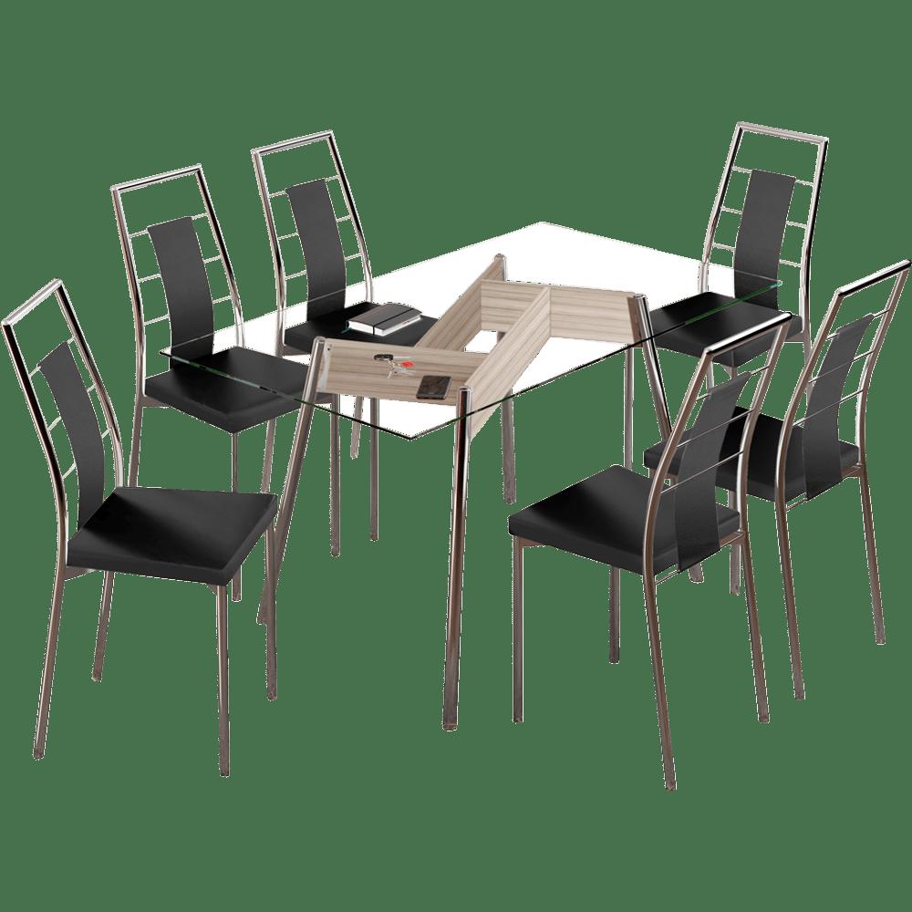 Sala De Jantar Novo Mundo ~  Sala de Jantar Carraro com 6 Cadeiras em Aço Cromado  Austin  Novo