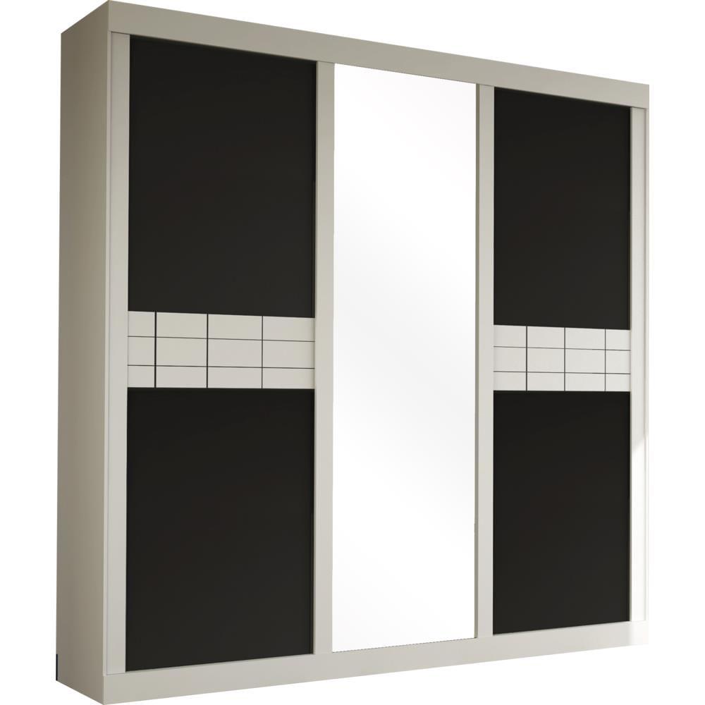 Guarda Roupa 3 Portas De Correr Espelho Branco Preto Bom