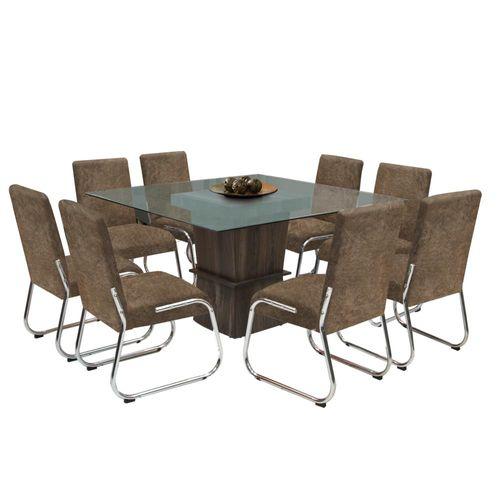 Sala De Jantar Novo Mundo ~  de Jantar 8 Cadeiras com Tampo de Vidro  Somopar Helena  Novo Mundo