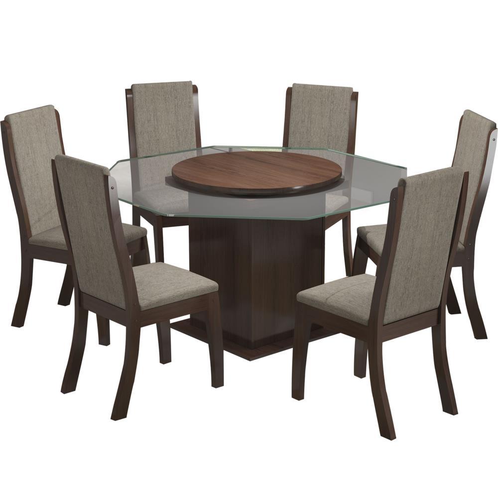 Mesa de jantar 6 cadeiras com tampo girat rio viero - Mesa de centro giratoria ...