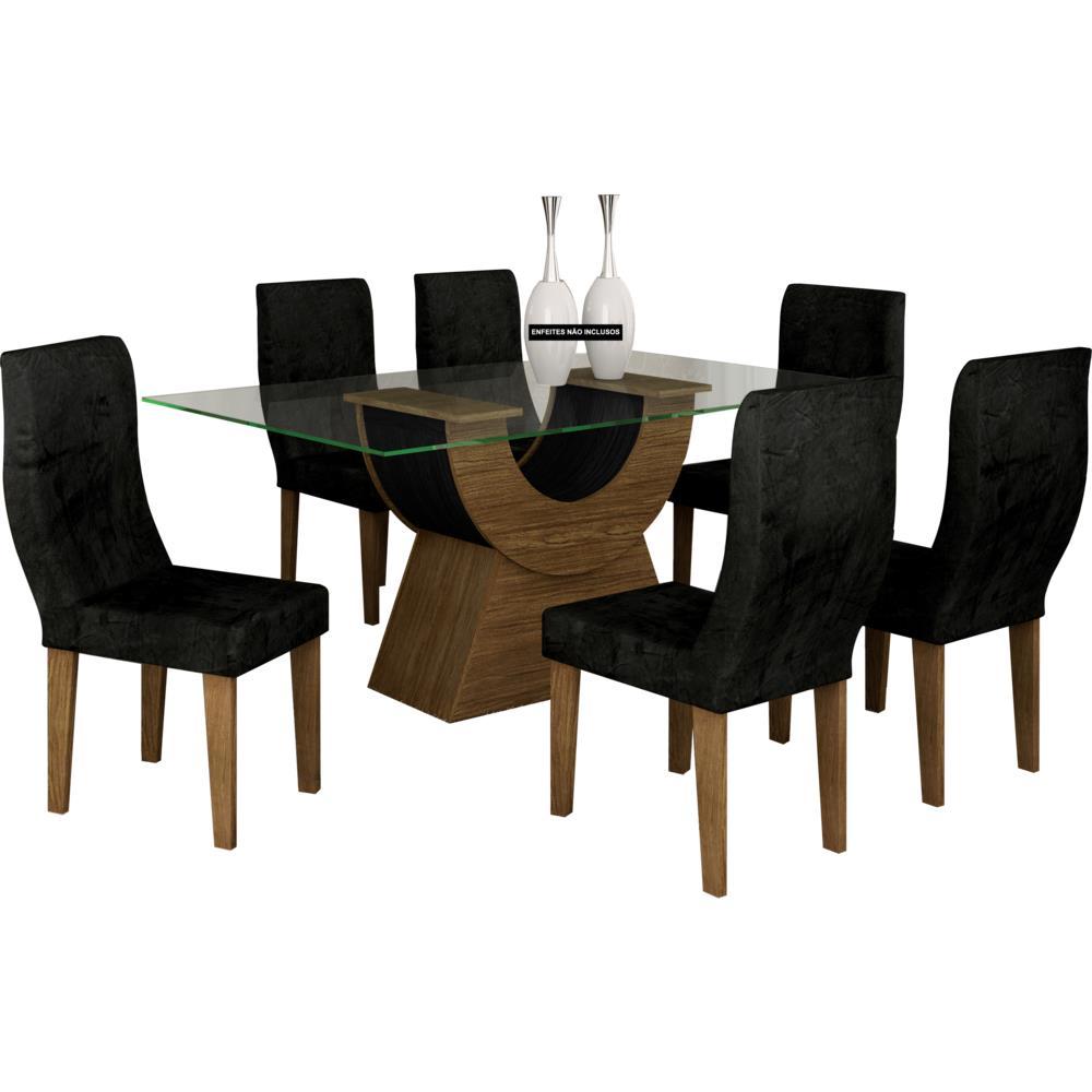 Mesa de jantar 6 cadeiras com tampo de vidro rufato - Mesa de centro giratoria ...