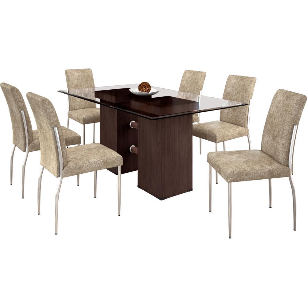 Sala De Jantar Novo Mundo ~ Conjunto de Mesa 6 Cadeiras com Tampo de Vidro  Somopar Hillux Prime