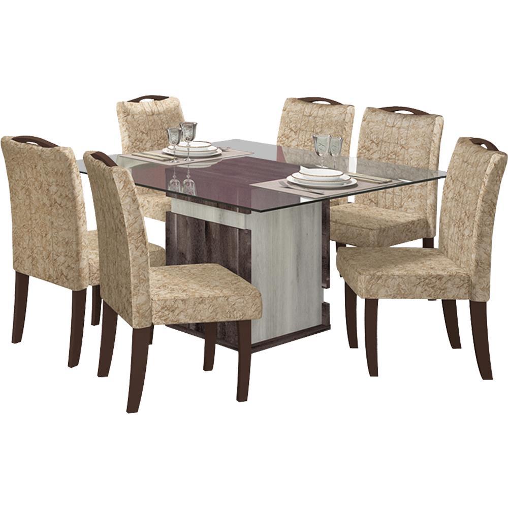 Mesa de jantar dj m veis napoli 6 cadeiras vidro 140 for Sala de estar png