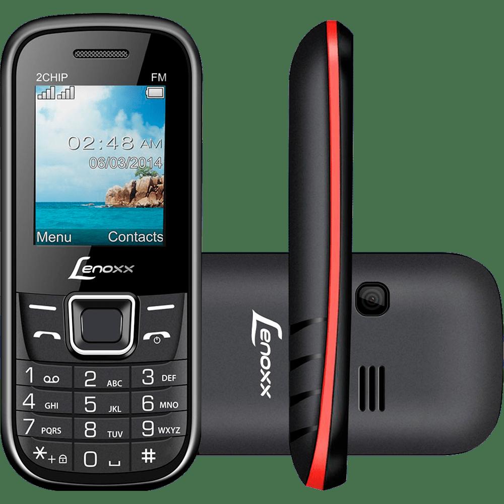 Celular Lenoxx Dual Chip, MP3, Rádio FM, Bluetooh, Preto / Vermelho - CX 903