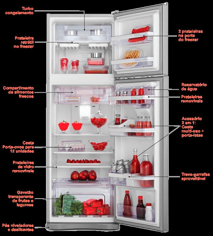 Interior do Refrigerador Electrolux DW42X