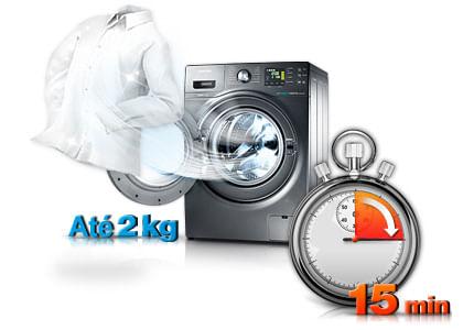 Recurso Quick Wash para lavar 2 kg de roupas em 15 min. Lava e Seca BWD106UHSAWQ