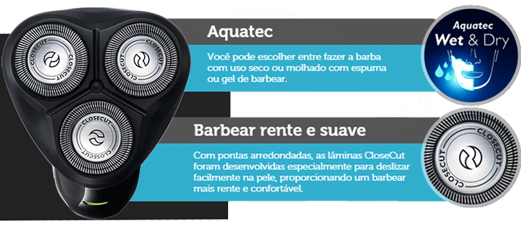 Barbeador seco e molhado - Philips AquaTouch