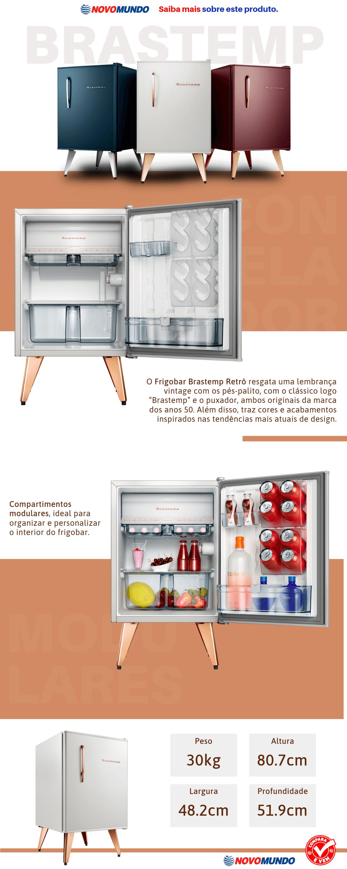 Frigobar Brastemp Retrô, 76L, Classificação Energética A, Branco - BRA08BB, Frigobar Brastemp BRA08BB Retrô Branco com Compartimentos Modulares - 76L