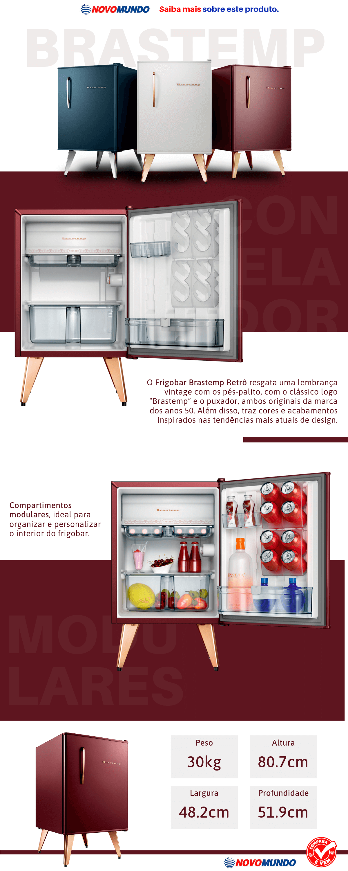 Frigobar Brastemp Retrô, 76L, Classificação Energética A, Marsala - BRA08BG, Frigobar Brastemp Retrô Marsala Wine 76 Litros BRA08BG 220V
