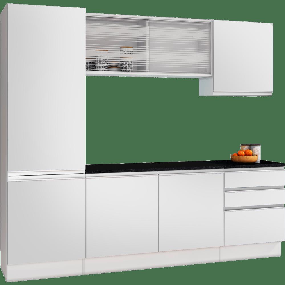 Cozinha Compacta Am Lia Paneleiro A Reos E Balc Es Em Mdf Nogueira