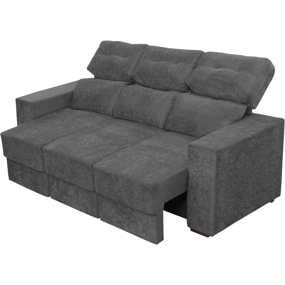 Sofa retratil reclinavel 3 lugares cinza for Sofa 03 lugares retratil e reclinavel
