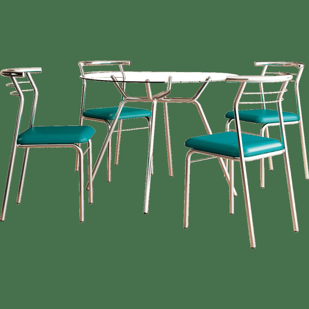1841feca65f Conjunto Sala de Jantar Carraro com 4 Cadeiras em Aço Cromado ...