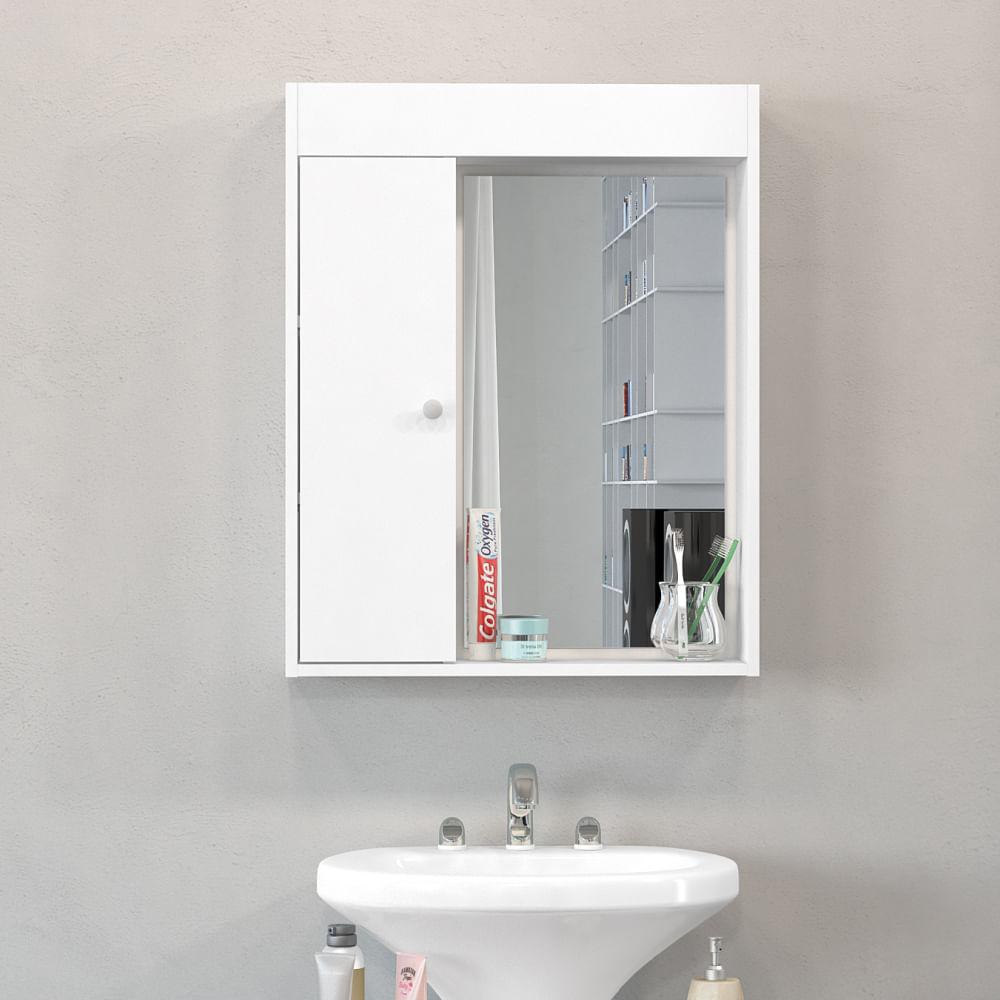 Artesanato Kaminski ~ Armário Aéreo de Banheiro com Espelho Branco Politorno Novo Mundo
