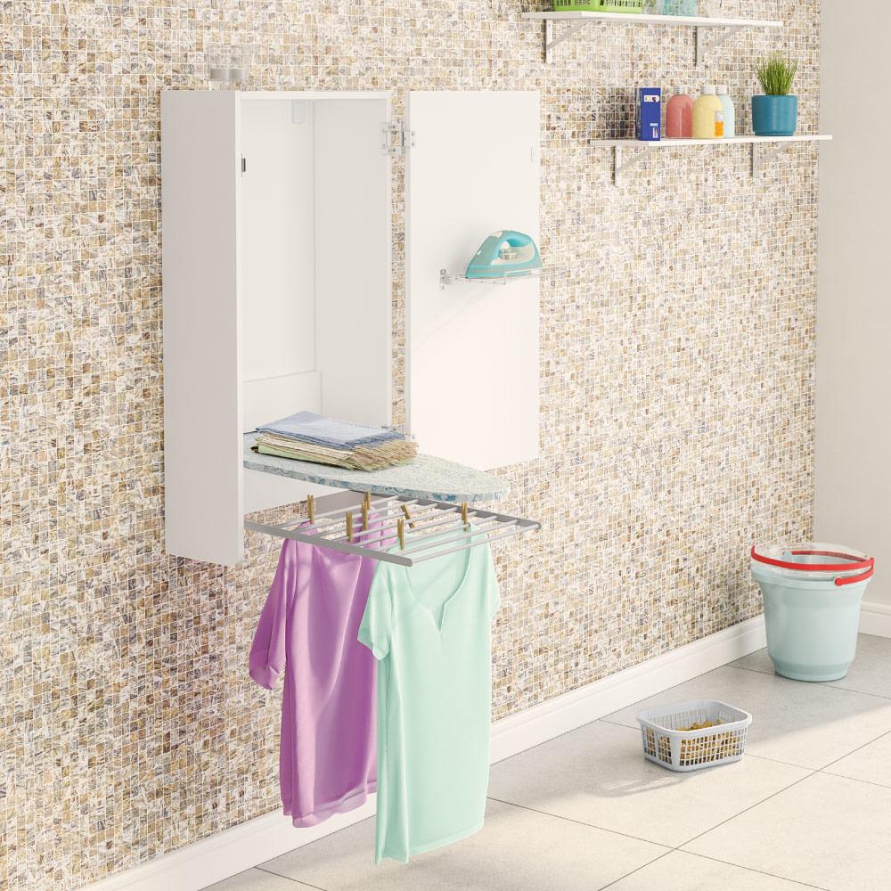 Arm rio de parede para lavanderia com t bua de passar e varal branco novo mundo - Mundo armario ...