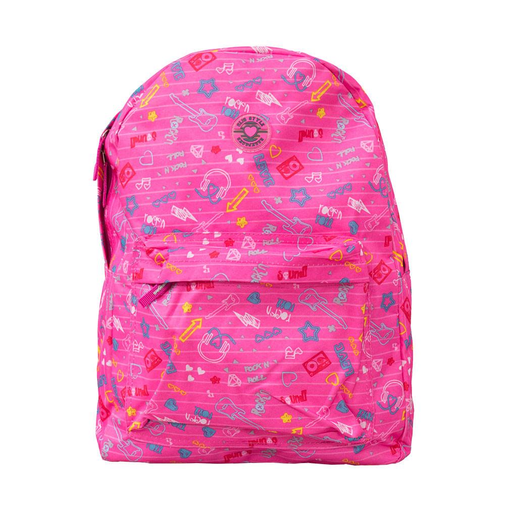 65c7bae34 Mochila 17 Clio Girls College Rock Rosa - Clio Style - Novo Mundo