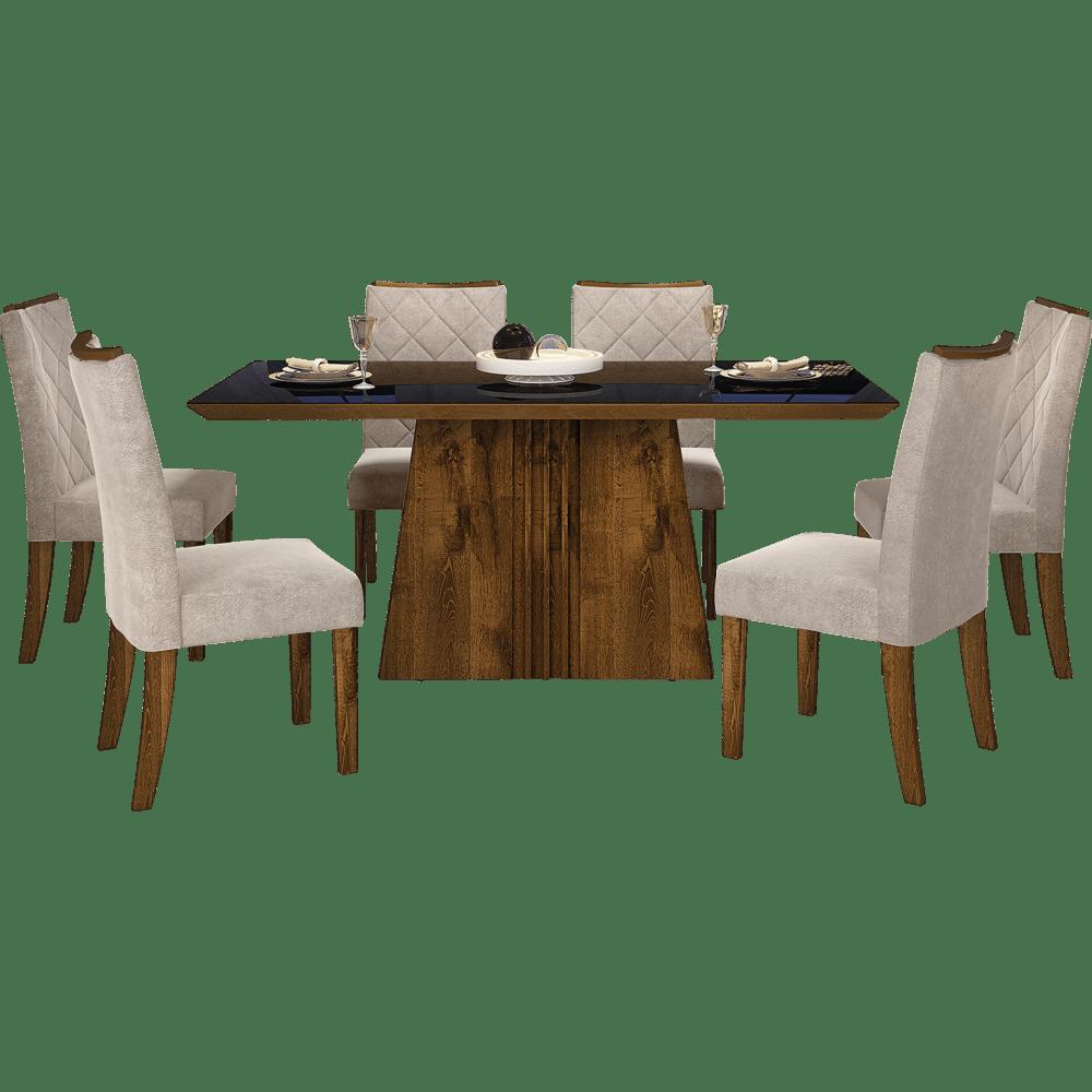 Mesa de jantar 6 cadeiras golden com tecido suede pena for Sala de estar png