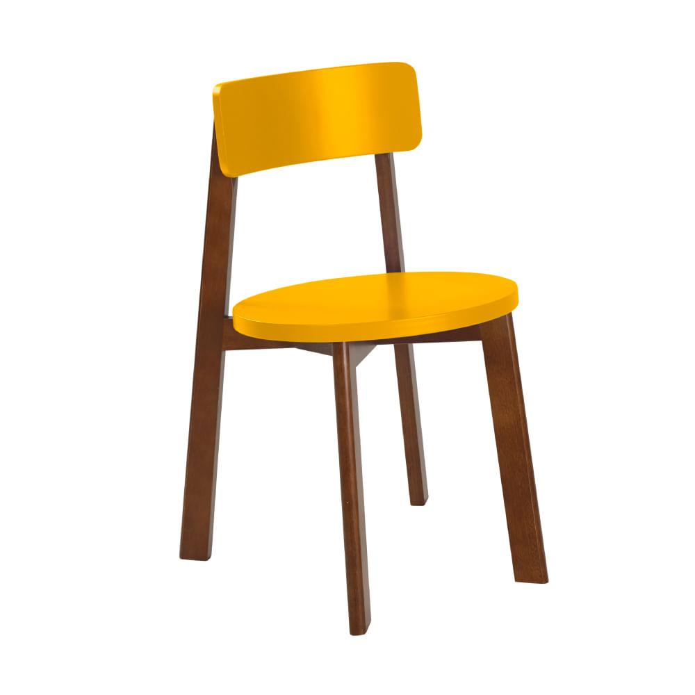 58bbbf7e1e5eb Cadeira com Assento Redondo Lina em Eucalipto MDF - Cacau Laca Amarelo -  Novo Mundo