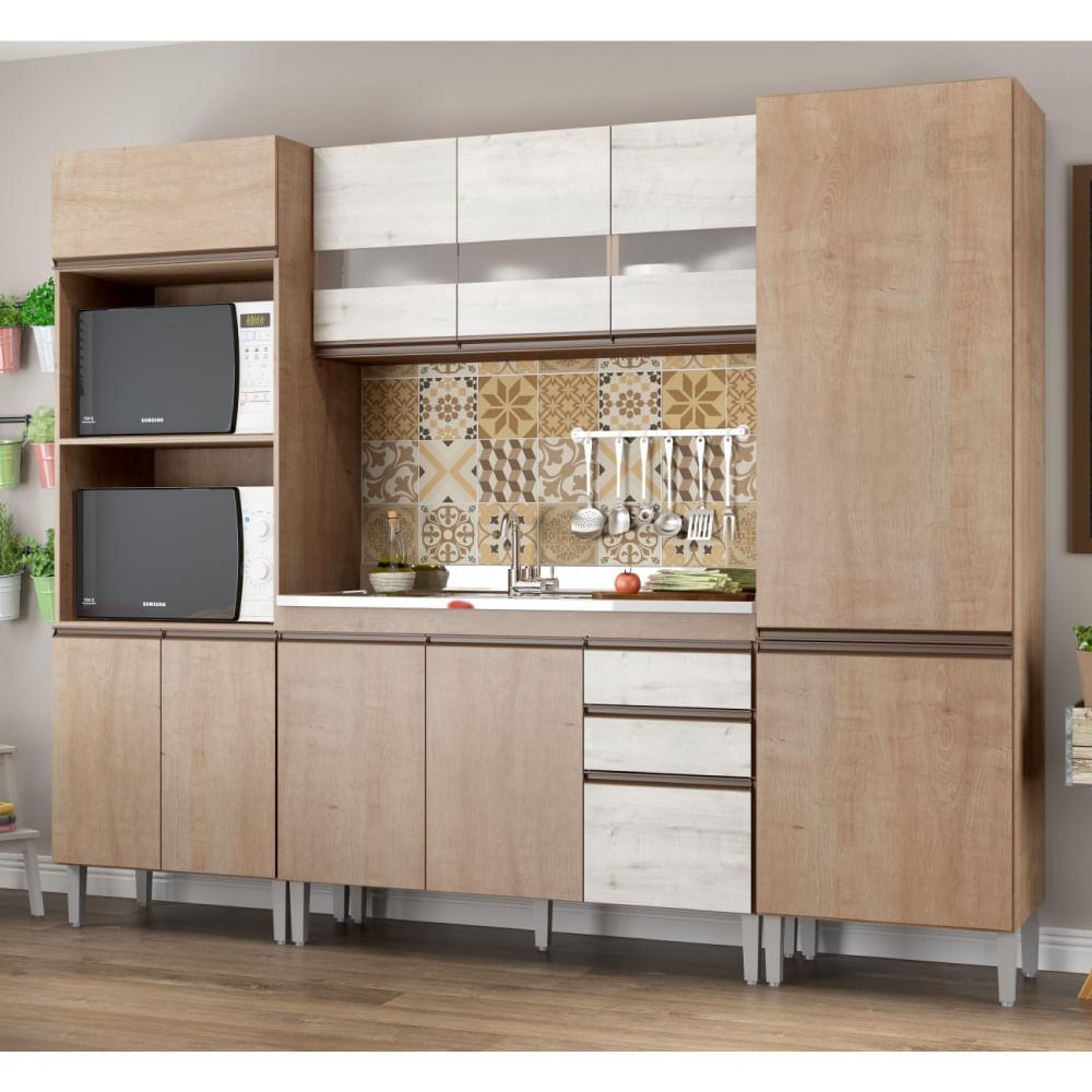 Cozinha Compacta Am Lia 11 Portas Com Balc O 2 Gavetas Nogueira