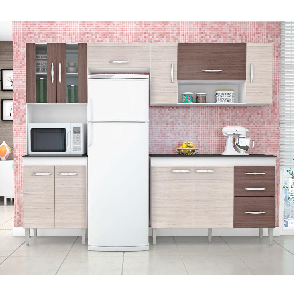 Cozinha Compacta Manuela Com Balc O 3 Gavetas Branco Preto