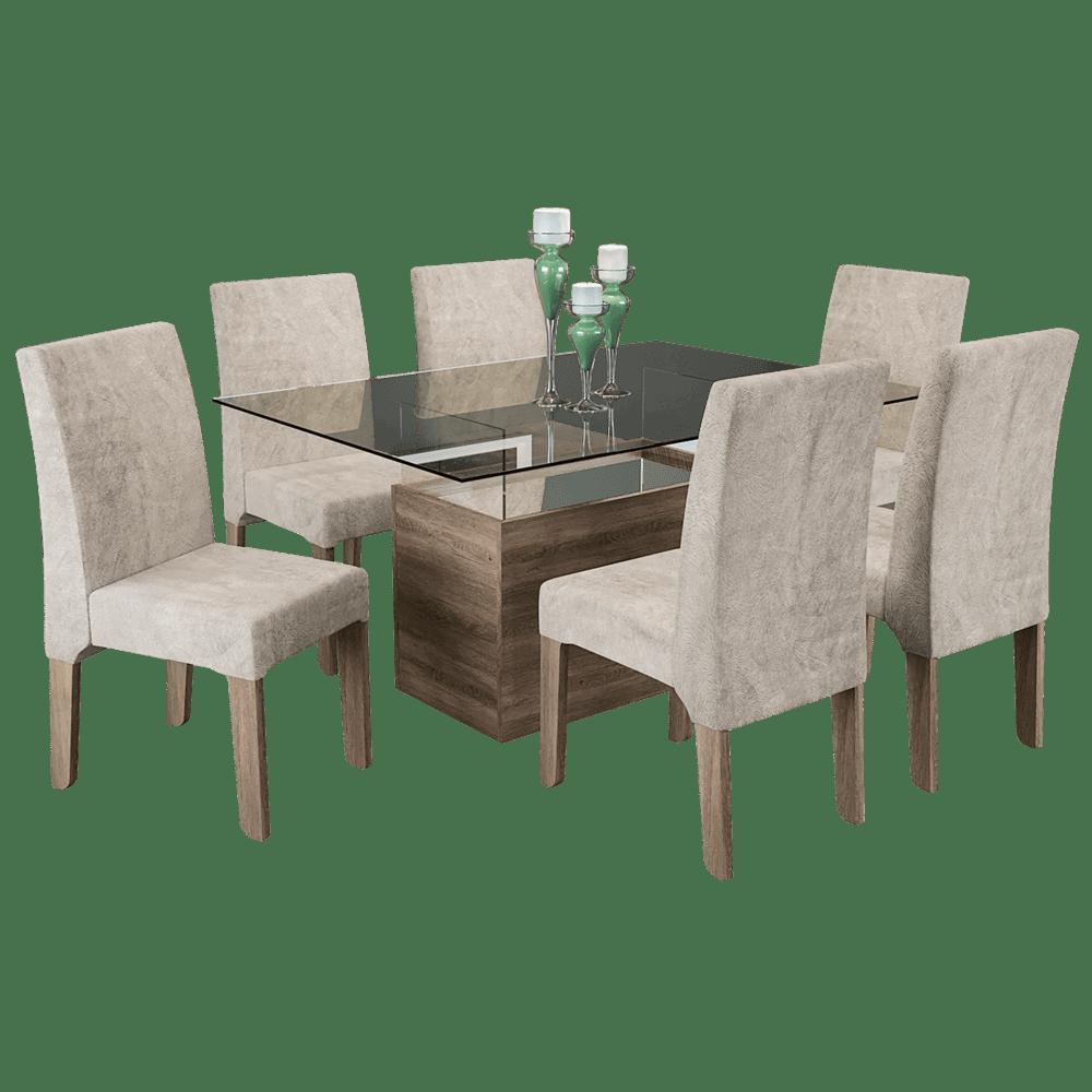 Mesa de jantar em mdf e mdp 6 cadeiras kappesberg for Modelos de mesas cuadradas