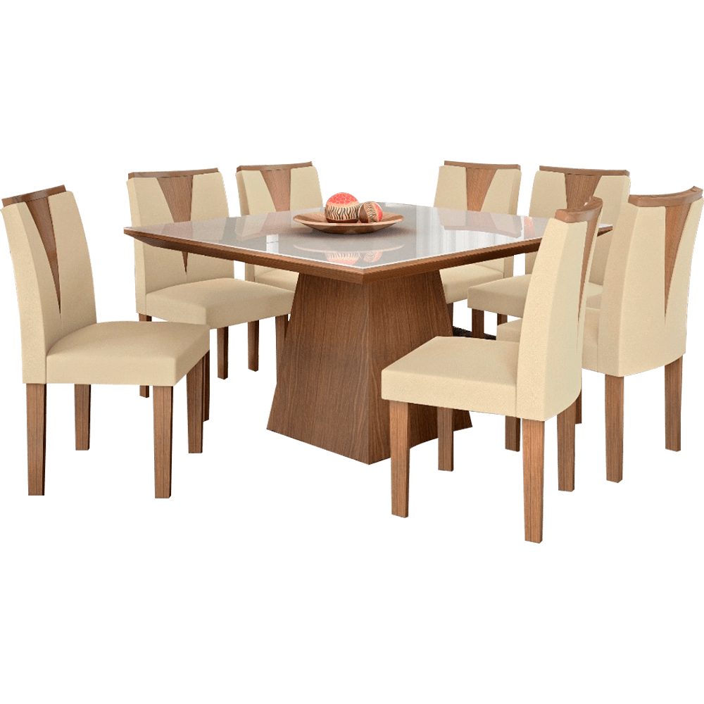 Mesa de jantar 8 cadeiras com tampo de vidro lj m veis for Sala de estar png