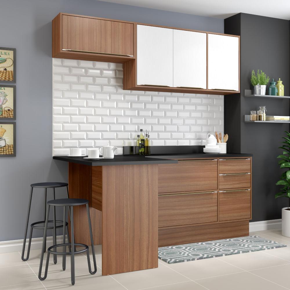 Cozinha Compacta Cal Bria Com Rodap Bancada E Balc O Nogueira