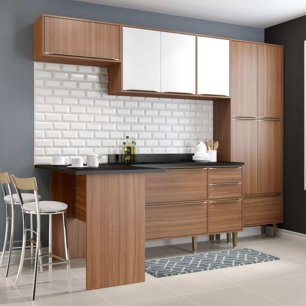 Cozinha Compacta Cal Bria Com Bancada Paneleiro E Balc O Nogueira