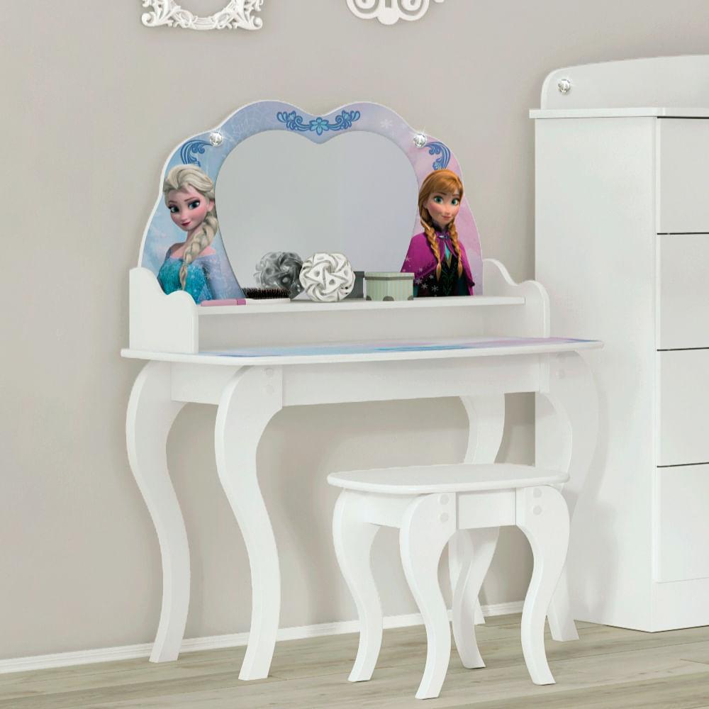 Penteadeira Infantil Frozen Disney Star Com Banqueta Licenciado  ~ Decoração De Quarto Com Penteadeira