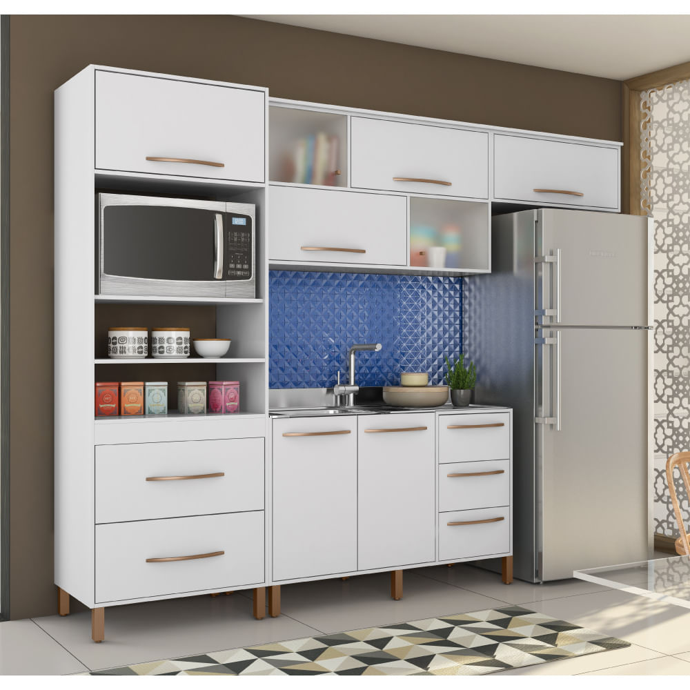 Cozinha Compacta Canela Arm Rio A Reos E Balc O Albatroz Branco