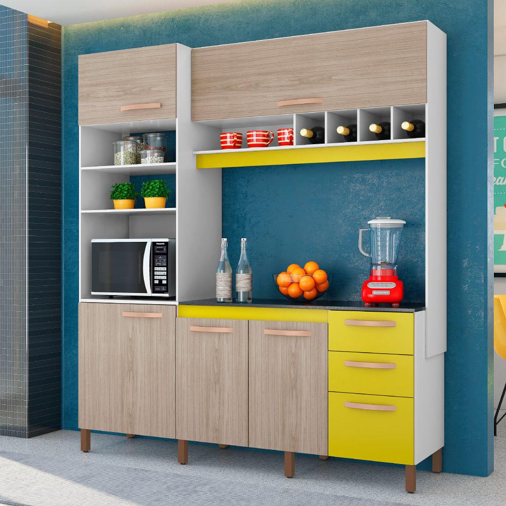 Cozinha Compacta Cacau 5 Portas 3 Gavetas E Nichos Albatroz Branco