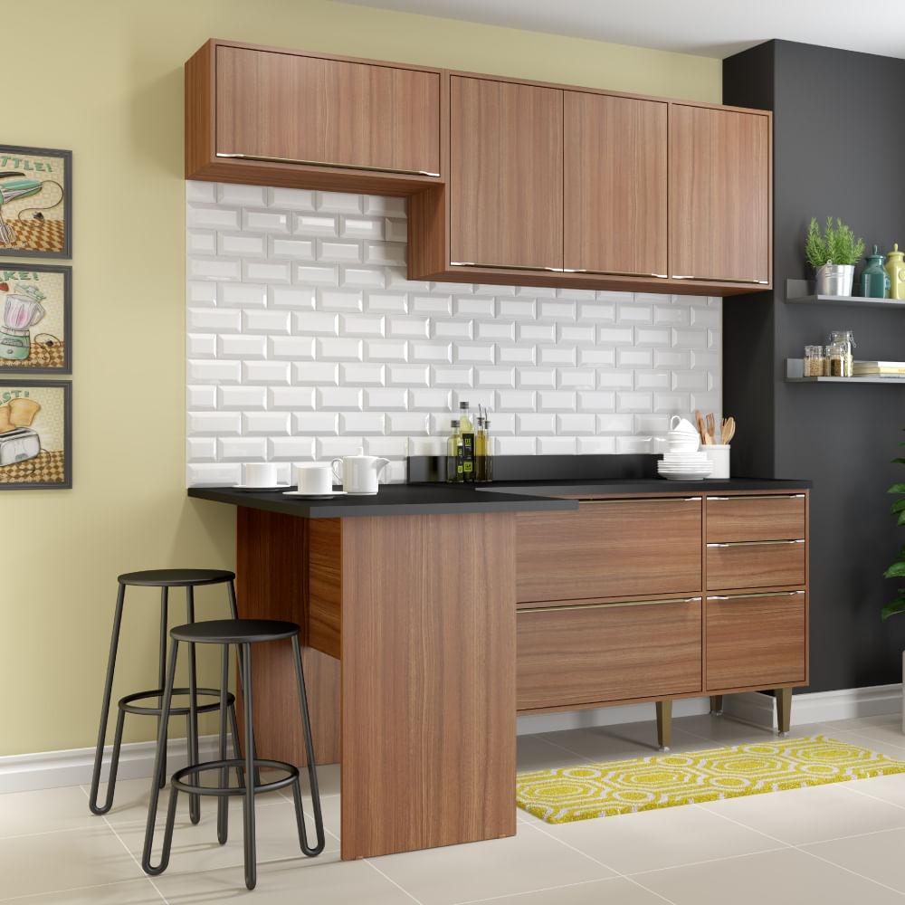 Cozinha Compacta Cal Bria Bancada A Reo E Balc O Nogueira Novo