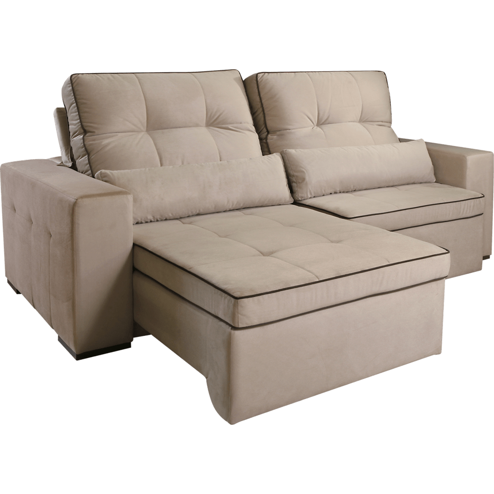 Sof 2 lugares com tecido veludo retr til e reclin vel for Sofa 7 lugares retratil e reclinavel firenze