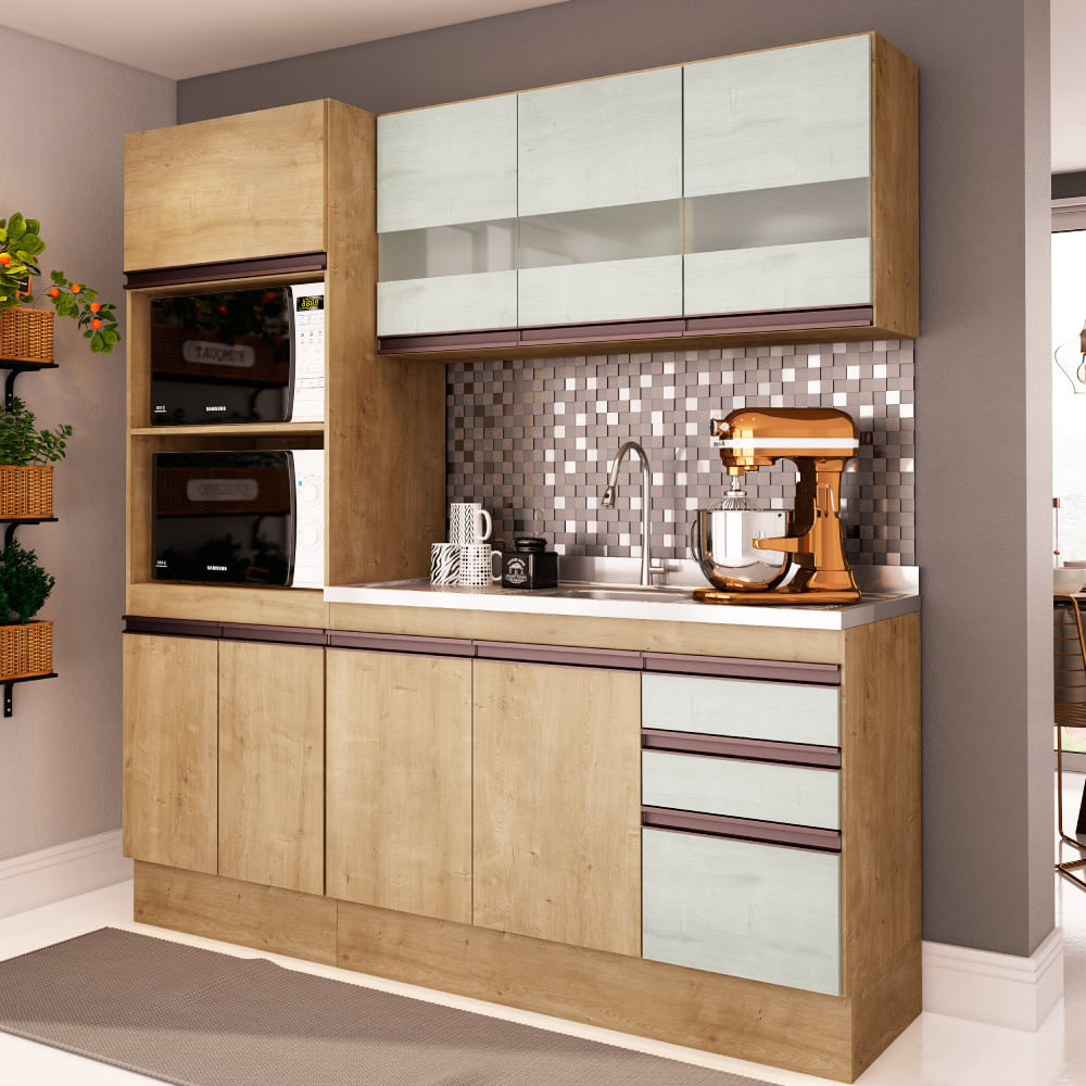 Cozinha Compacta Am Lia A Reo Balc O E Paneleiro Nogueira Snow
