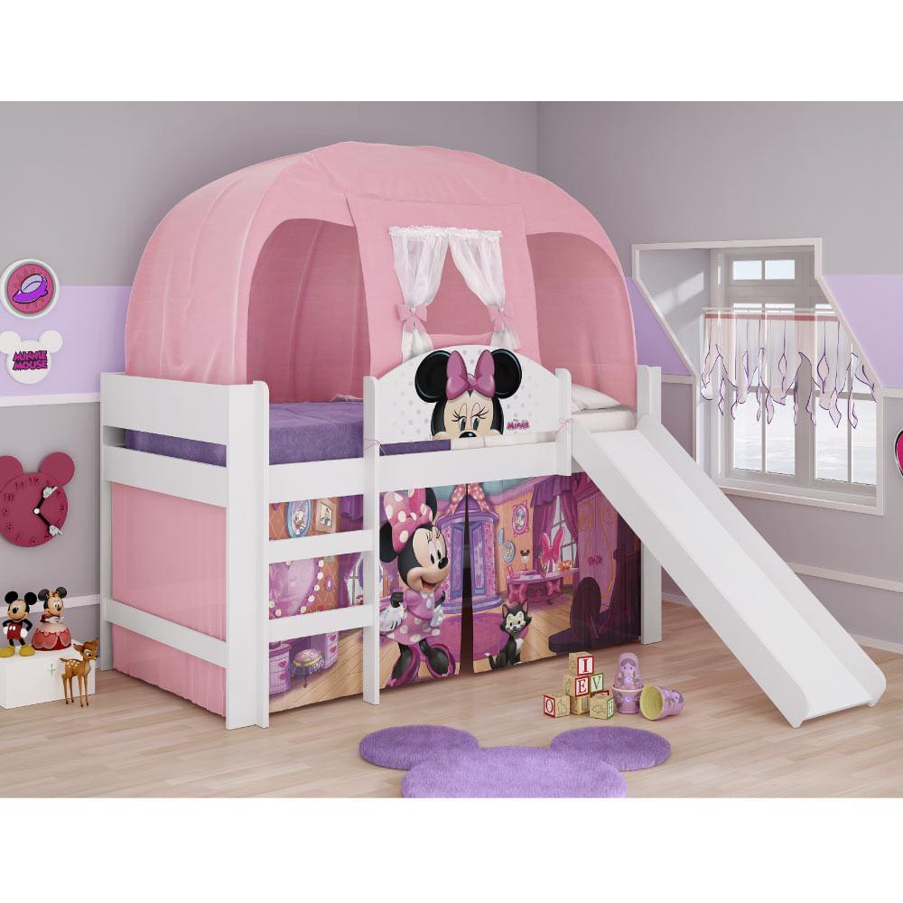 89d0f57be6 Cama Infantil com Escorregador e Barraca Minnie Disney Pura Magia - Novo  Mundo