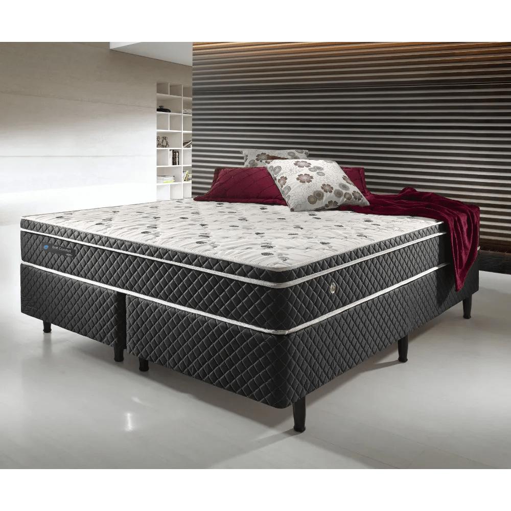341937c7b Cama Box Casal Queen Size Soft Comfort Preto - Antiácaro