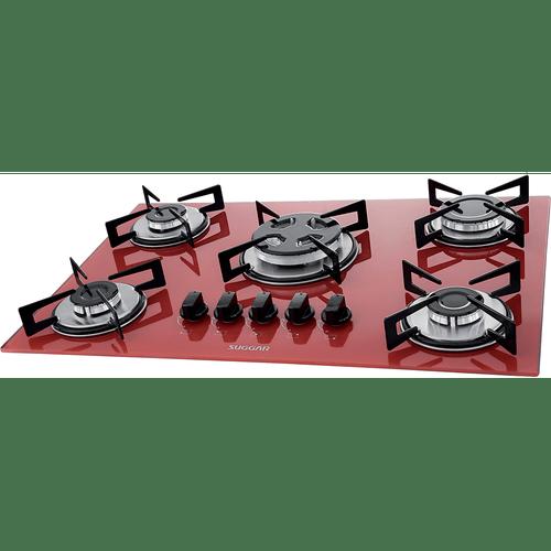 cooktop-suggar-5-bocas-tripla-chama-vidro-temperado-vermelho-fg5305vm-bivolt-57098-0