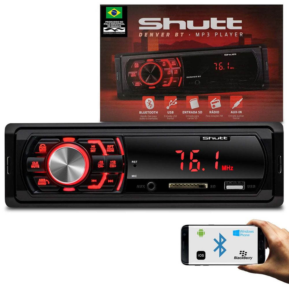 MP3 Player Automotivo 1 Din Bluetooth USB SD Auxiliar P2 Rádio FM Audio  Streaming Shutt Denver BT