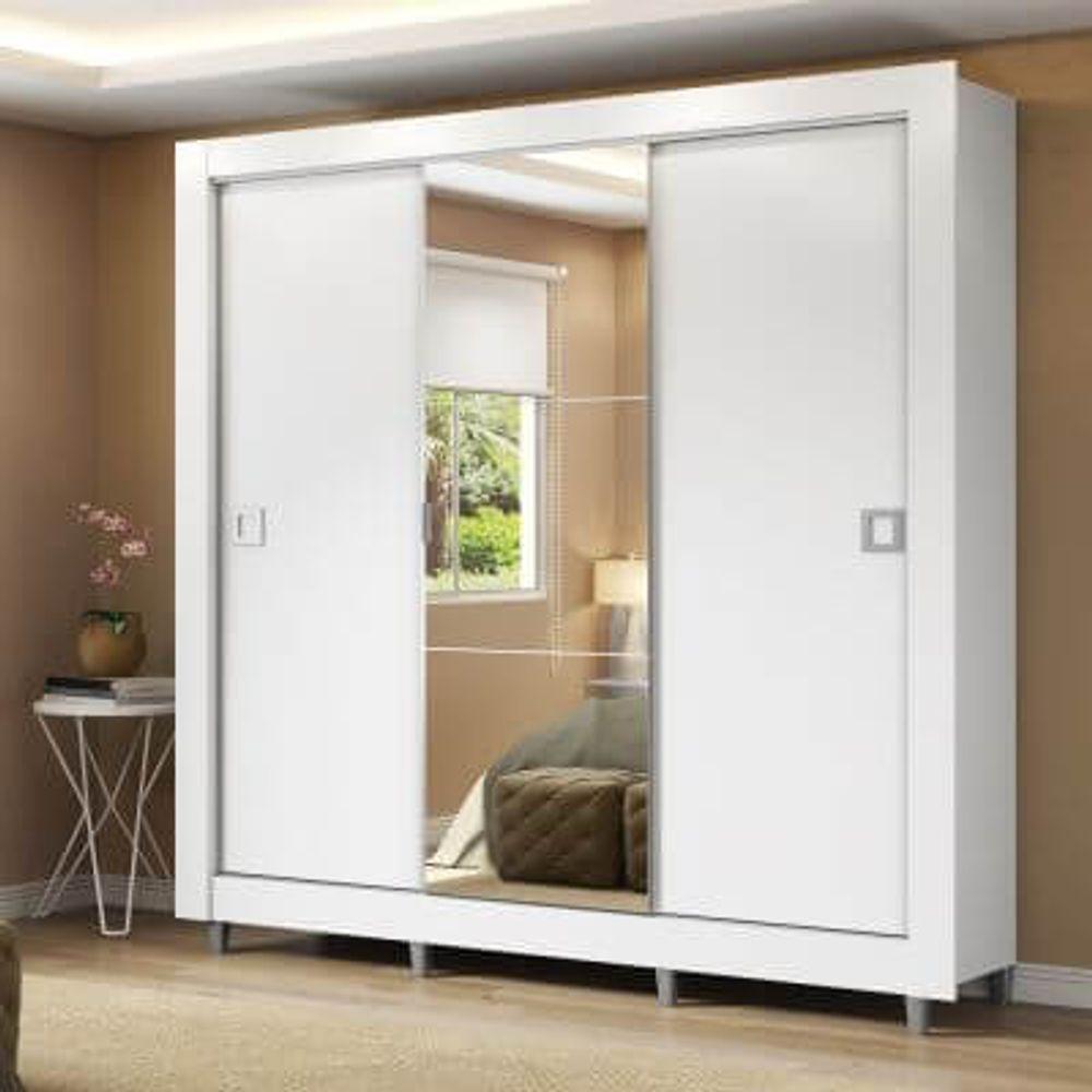 3707f3d6162c42 Guarda-roupa em MDP 3 Portas de Correr Central com Espelho - Madesa Style -  Branco