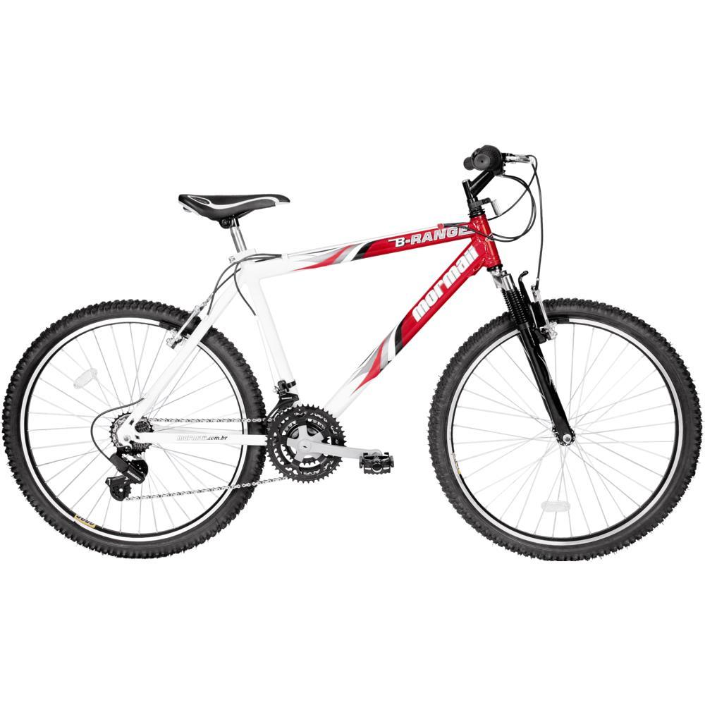 Bicicleta Aro 26 Mormaii B-Range 21m com Suspensão Vermelha Branca - Novo  Mundo 4d40edcfb3