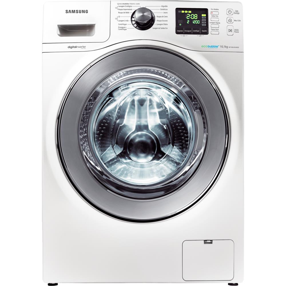 67160e0af Lavadora de Roupas Samsung Eco Bubble 10kg Branca - WF10 - Novo Mundo