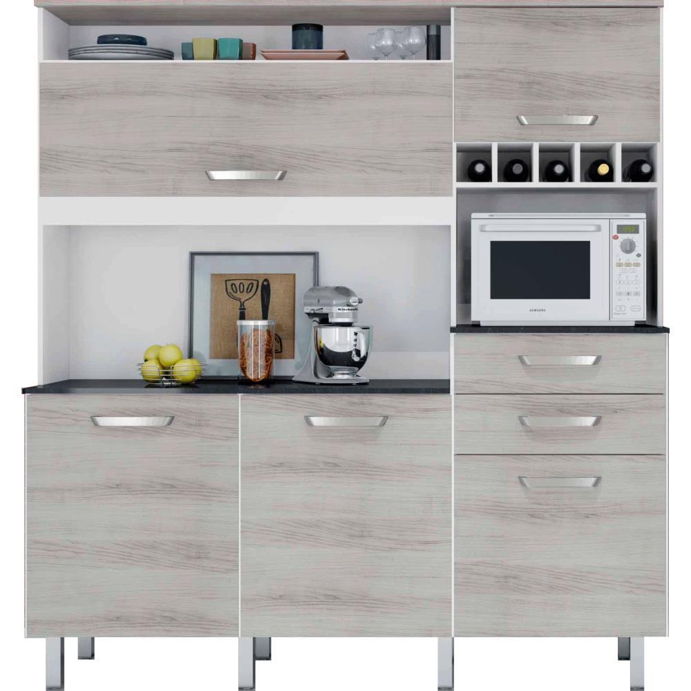 Armário de Cozinha 5 Portas  Nesher Diva Smart  Novo Mundo # Armario De Cozinha Safira Bartira