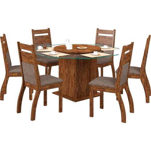 Conjunto de Mesa e Cadeira Bianca 6 Cadeiras Viero Móveis