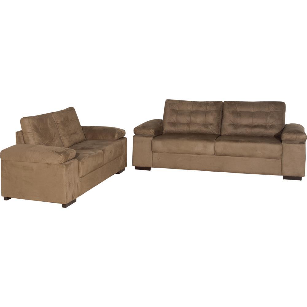 Conjunto Sofá 2 E 3 Lugares Com 2 Almofadas Decorativas: Sofá 2 E 3 Lugares Tecido Suede