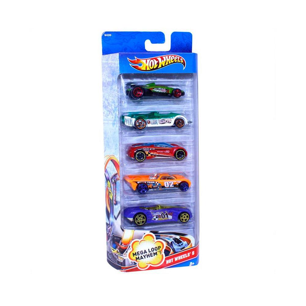 b1a5c835a Hot Wheels Pack com 5 Carros - Mega Loop - Mattel - Novo Mundo