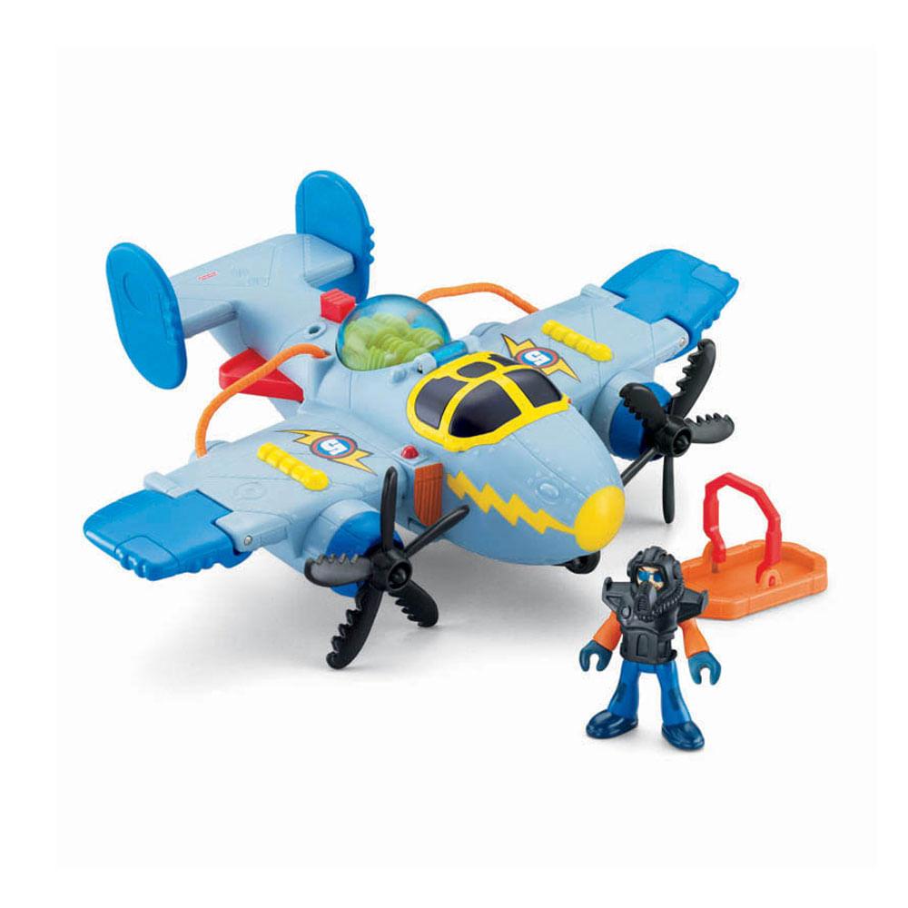 90562cf1c10 Imaginext Super Aviões Sky Racer Tornado Cinza - Mattel - Novo Mundo