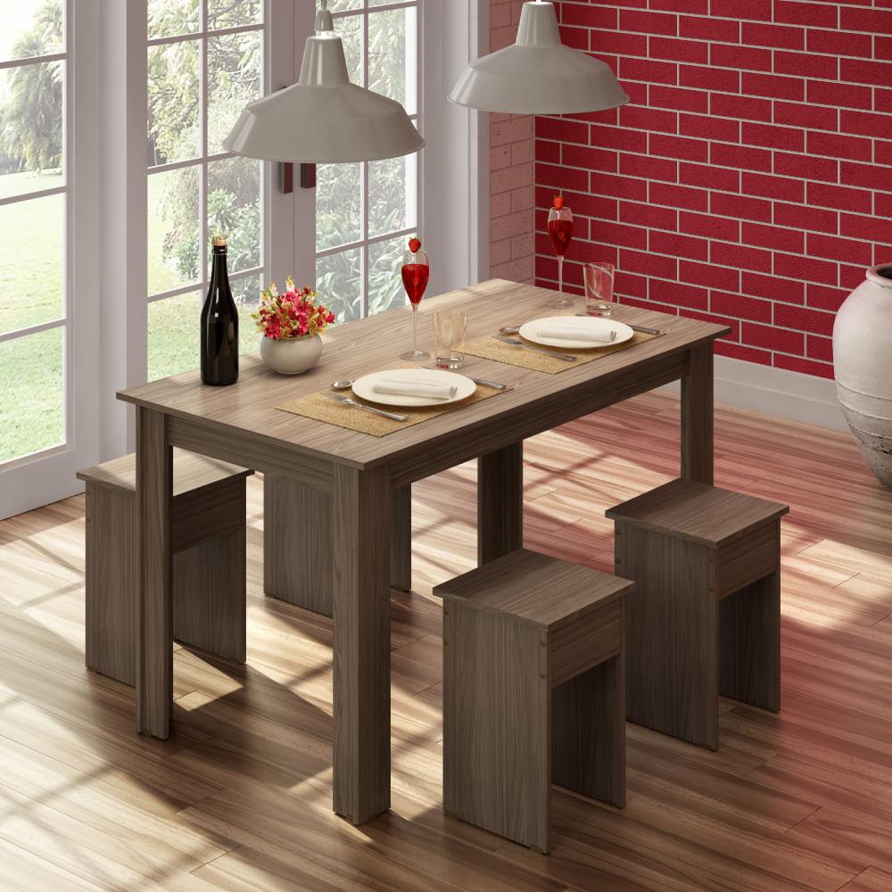 Conjunto Para Sala De Jantar Mesa E 4 Banquetas Com Acabamento