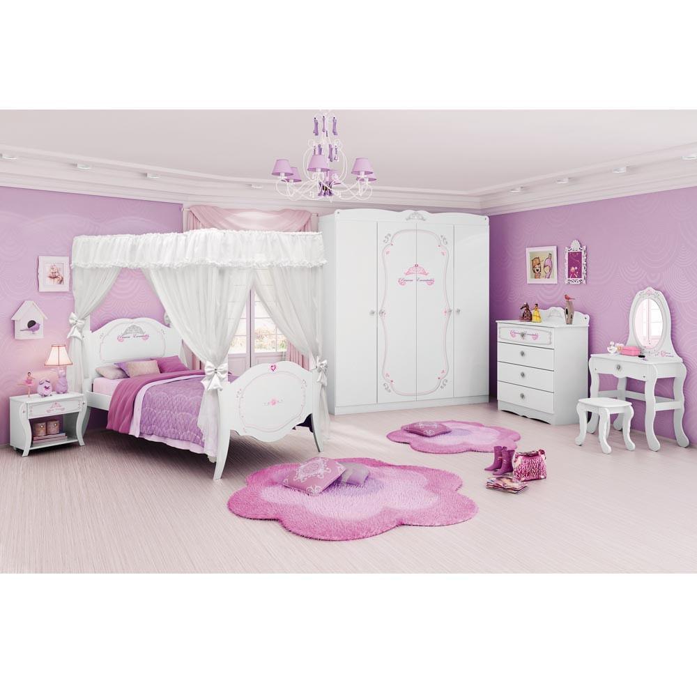 Quarto Completo Princesas Encantada Clean Com Dossel Pura Magia  ~ Decoração Quarto Infantil Princesas