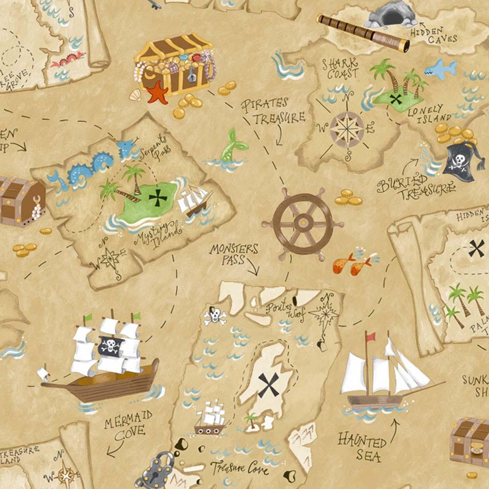 Papel De Parede Infantil Marrom Com Mapa Do Pirata Peek A Boo  ~ Papel De Parede Mapa Mundi Quarto