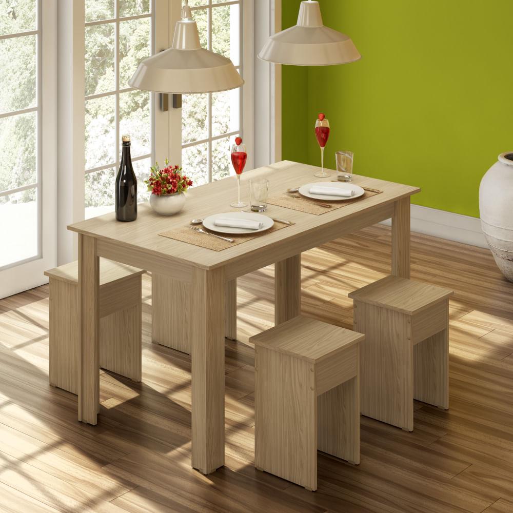 Conjunto Para Sala De Jantar Mesa E 4 Banquetas Com Acabamento  -> Acabamento Sala De Jantar