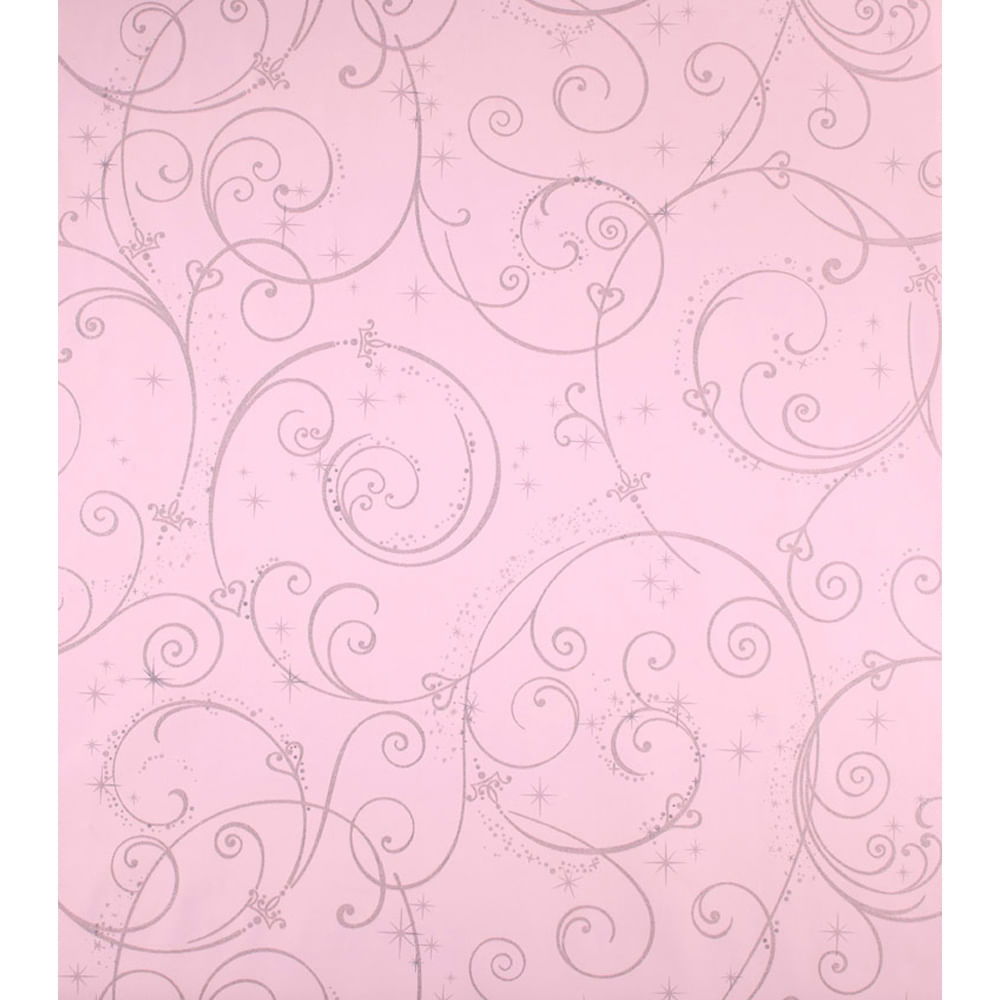 Papel De Parede Princesas Rosa Disney Com Glitter York Novo Mundo ~ Papel De Parede Para Quarto De Bebe Rosa E Marrom
